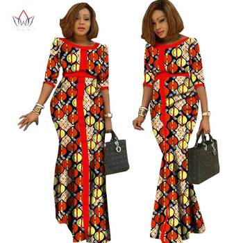 New African Clothes O-neck Dashiki Ladies Clothes Half Sleeve Africa Print Clothing Traditional Plus Size 6xl Long Dress WY1146
