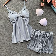 Women Pajamas Satin Sleepwear Pijama Silk Home Wear Lace Home Clothing Chest Pads Spaghetti Strap