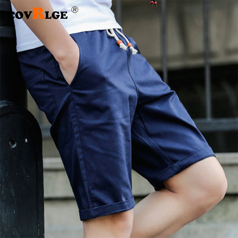 Covrlge Men's Shorts Summer 2019 New Casual Solid Color Shorts Knee Length Beach Men Shorts Black MKD032