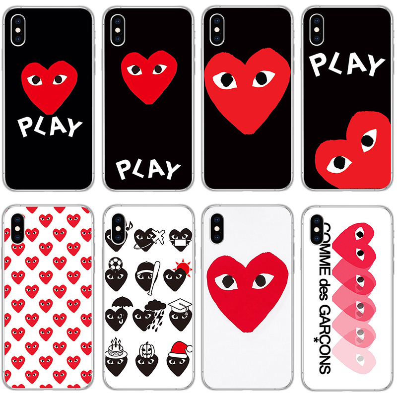 cdg for iPhone 7 plus Case Soft TPU Back Cover cases for Apple iphone 7 8 6 6s Plus X XR XS MAX 5 5S comme des garcons