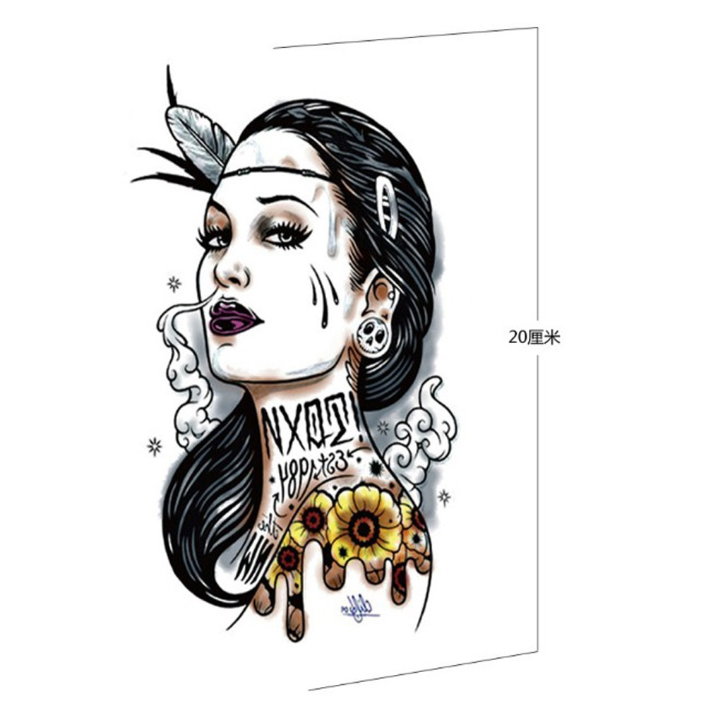 Disposable Tattoo Decal Arm Waterproof Male And Female Simulation Goddess Tattoo Blue Totem Flower Arm Sticker <font><b>12X20</b></font> CM (cm) image