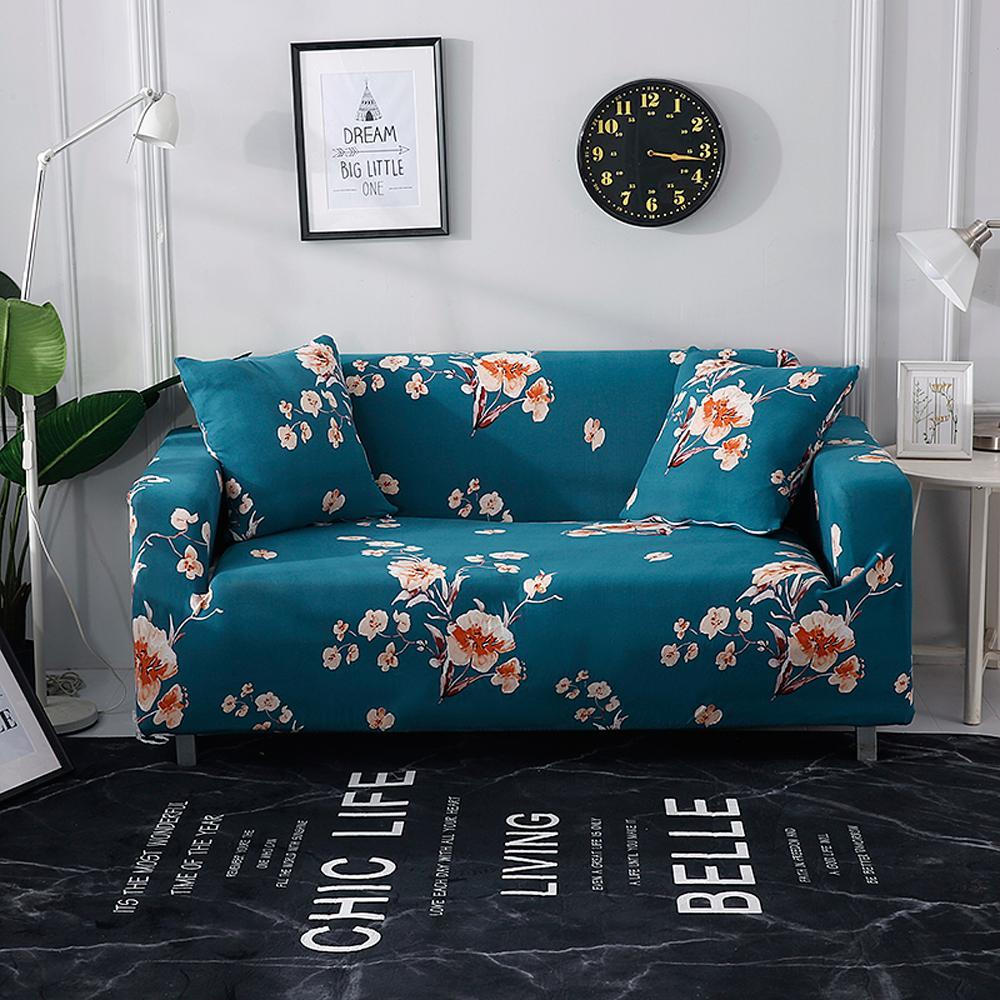 JU 1/2/3/4 Seater Stretch Slipcovers Sectional Elastic Stretch Print Sofa Cover For Living Room  Cover L Shape Armchair Covers