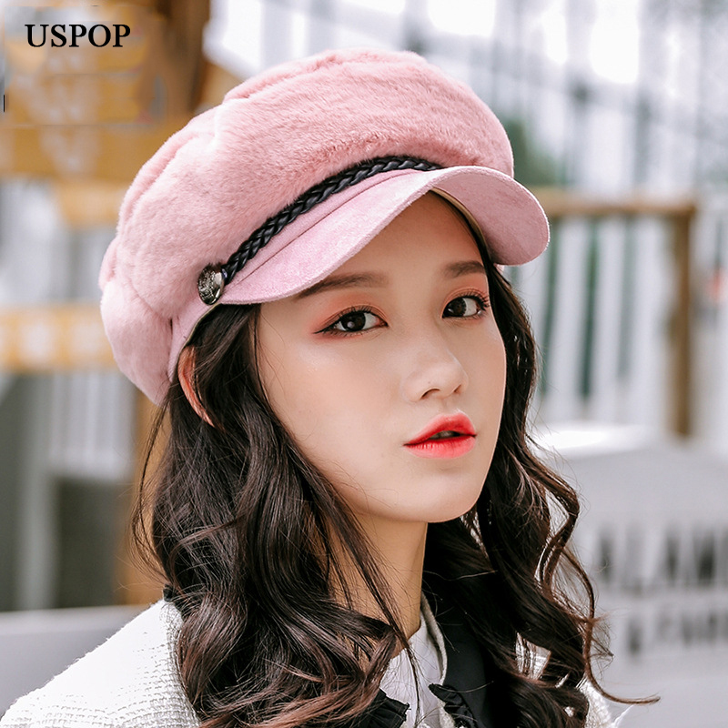 USPOP 2019 New Newsboy Caps Winter Thick Women Caps Female Fashion Patchwork Military Caps Mink Velvet Warm Newsboy Hat