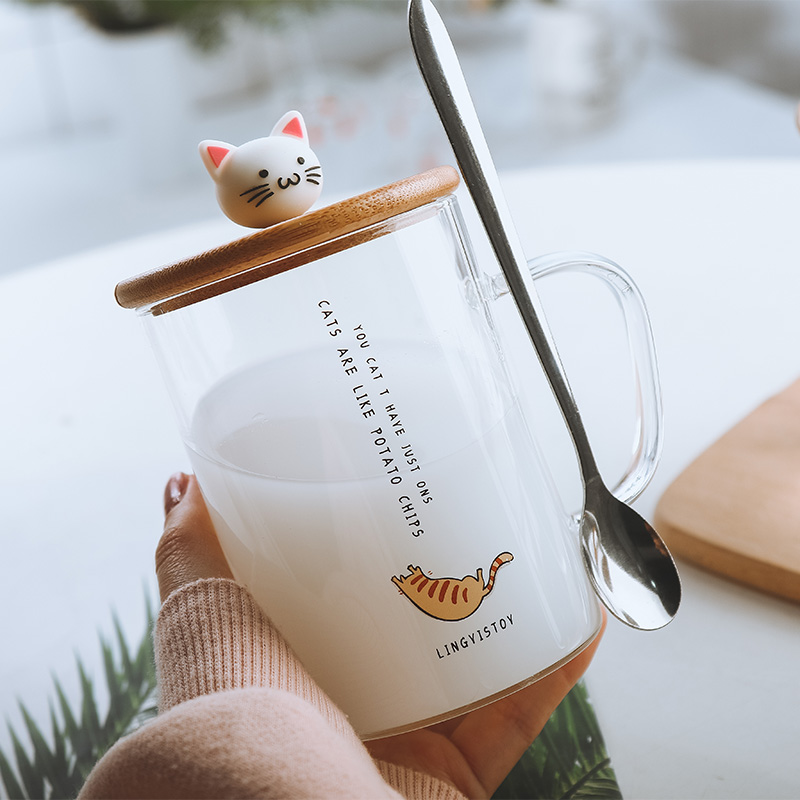 450ml Cute Cat Glass Mugs With Spoon and Lid Coffee Tea Milk Breakfast Cups With Handle Drinkware Nice Gifts|Mugs| - AliExpress