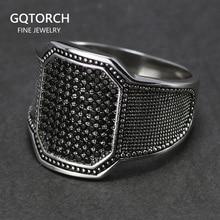 De 925 anillos de plata Cool Retro Vintage turco boda anillo de la joyería para hombres negro de piedra de circón diseño curvo cómodo encaja
