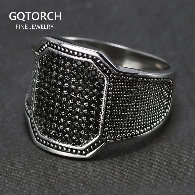 $ US $19.03 Solid 925 Silver Rings Cool Retro Vintage Turkish Ring Wedding Jewelry For Men Black Zircon Stone Curved Design Comfortable Fits