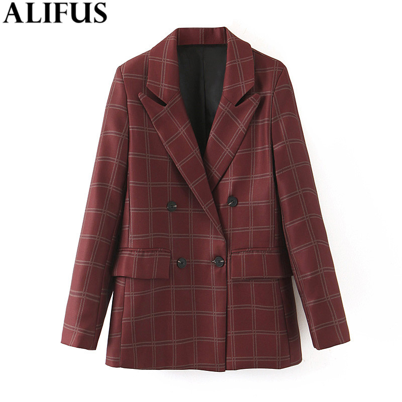 Fashion Za Women 2019 Vintage Plaid Printed Double Breasted Blazer Coat Long Sleeve Stylish Pockets Ladies Outerwear Chic Tops