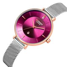 CURREN Montre Femme 2019 Womens Watch Fashion Wristwatch Complete Calendar Display Stainless Steel Quartz Watches Waterproof