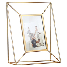 Creative Household Metal Photo Frame Ornaments Geometrical Glass Desktop Crafts Home Decoration Birthday Gifts