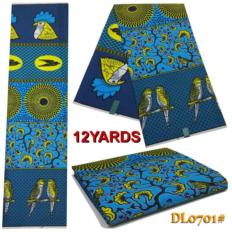 100% Polyester African New 12 Yard Wax Tissu Africain Printed Polyester Fabric  Guaranteed Real Dutch Wax African Ankara Fabrics