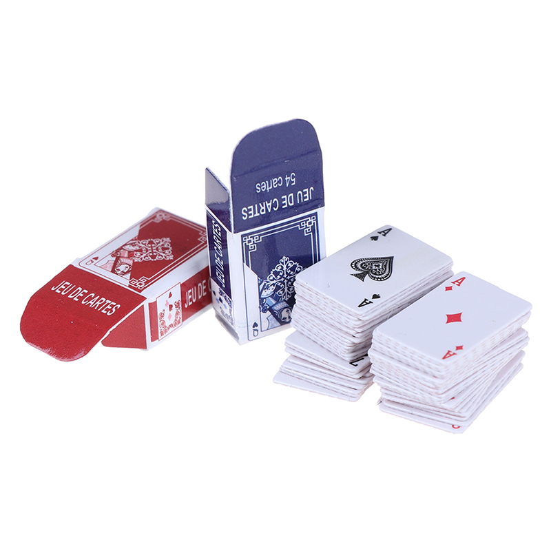 1set Mini Poker Playing Cards Style Random Funny Models Poler Cute Miniature Doll Toys Decorative 1:12 Dollhouse Accessories