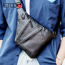 AETOO Leather shoulder bag, men's slant bag, men's