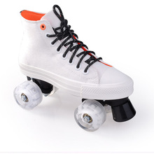Skating Shoes Patines With Pu Flashing Wheels White Canvas Roller Skates Double Line Skates Women Men Lovers Adult Two Line