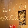 Светодиодный Шторы гирлянда украшения для Рамадана для дома с изображением луны и звезд, строка светильник ИД Мубарак Рамадан Мубарак Деко...