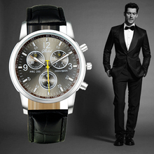 Fashion Casual Leather Band Men's Watches Three Eyes Dress Watch