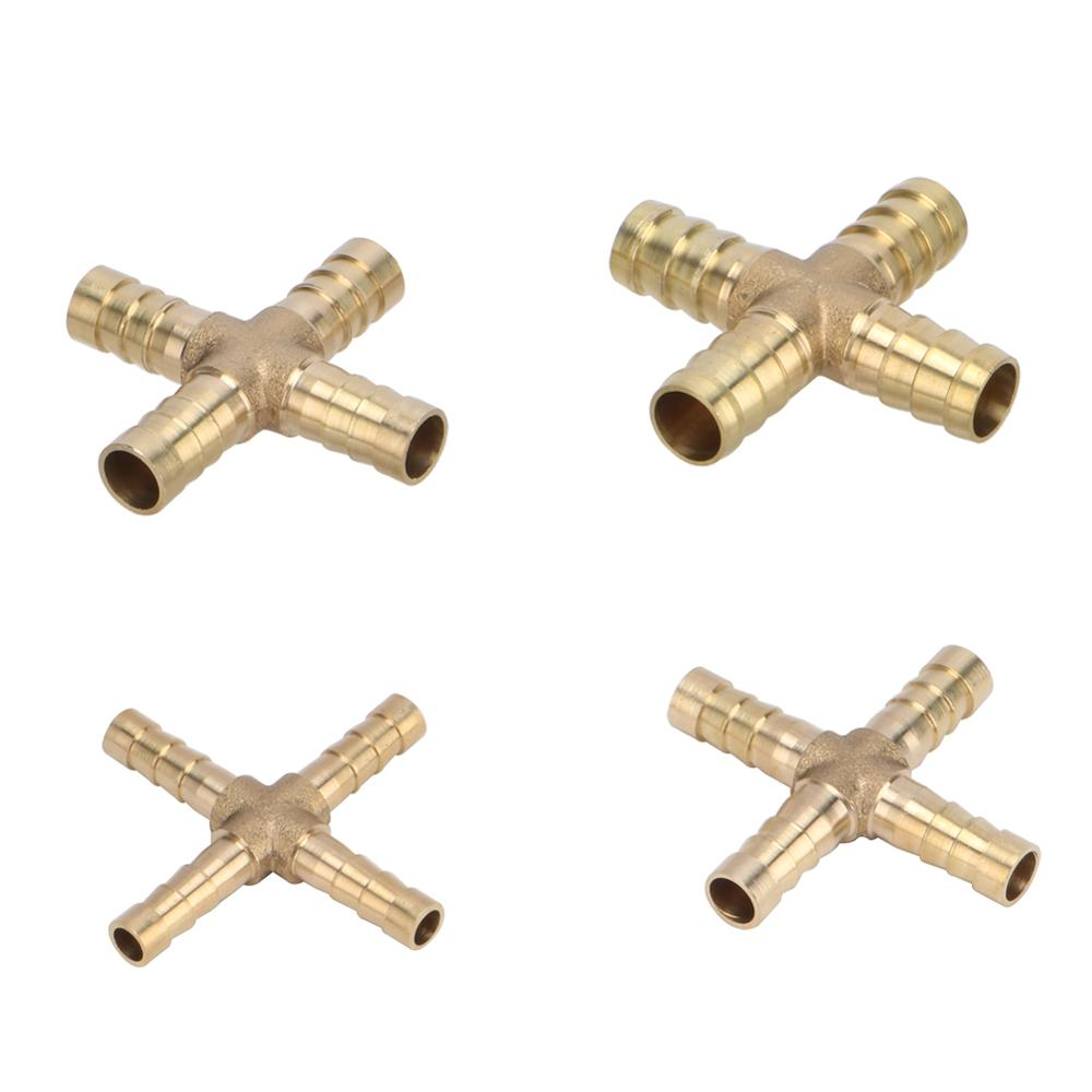 Cross Shaped Brass Pipe Fitting 4 Way 6mm 8mm 10mm 12mm Hose Barb Connector Joint Copper Barbed Coupler Adapter Coupling 1 Pc