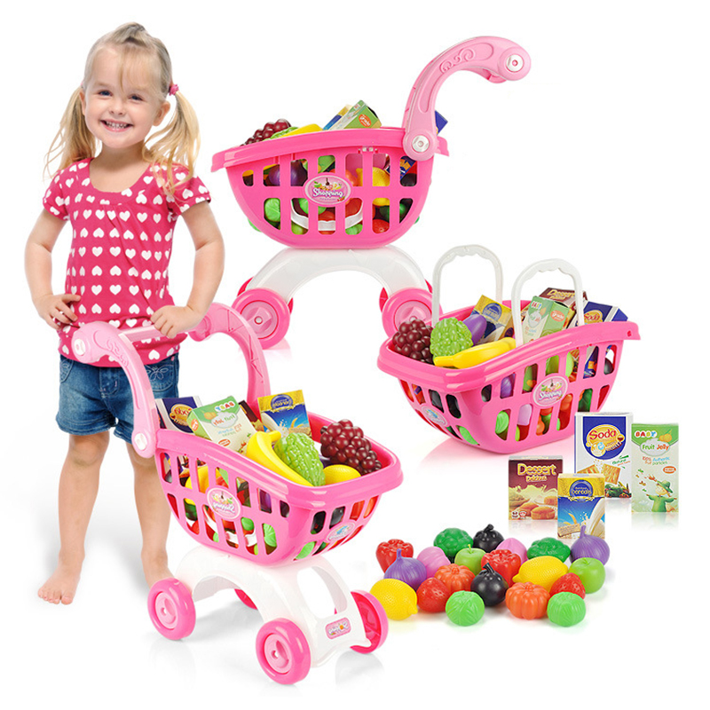 44PCs Play House Toys Shopping Cart With Pretend Play Food  Items  Miniature Kitchen Accessories for Kids Ages 3 and Up Girl Boy