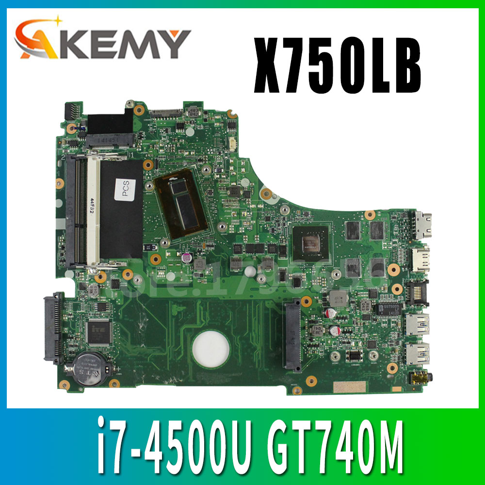 with i7-4500U GeForce GT740M 2GB X750LN motherboar For <font><b>ASUS</b></font> X750LN X750L K750L Laptop motherboard <font><b>X750LB</b></font> Mainboard 100% test image