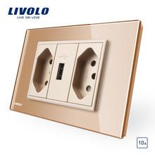 Livolo Brazilian/Italian Standard 3Pins 10A socket with USB, White Glass panel  USB outlet ,  C9C2UBR1-11