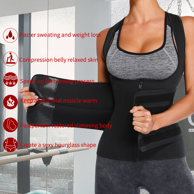 Women Neoprene Sweat Sauna Vest Waist Trainer Corset Fitness Weight Loss Slimming Body Shaper with Adjustable Waist Trimmer Belt 5
