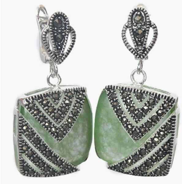 Jewelry Jade Earring Fancy lady's 925 Silver Hook green Natural jade Marcasite Square Earrings Free Shipping