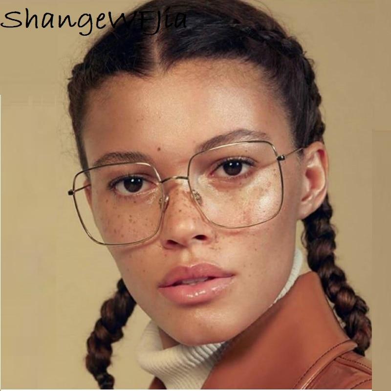 2019 Newest Square Frame Vintage Eeygalsses Women Oversized Big SizeOptical Frames Metal Glasses Frame Clear Lens Eyeware