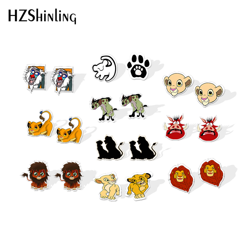 2019 New Lion King Epoxy Stud Earring Simba And Nana Acrylic Earring Movie Stud Shrinky Dinks Earring