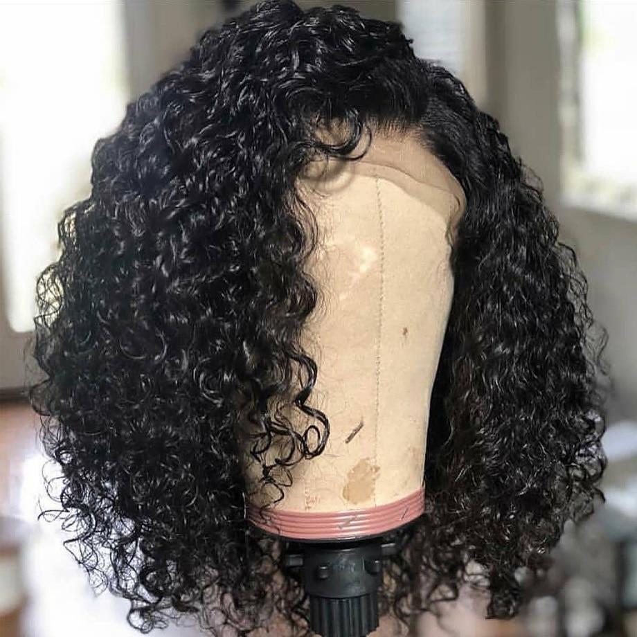 Dentelle avant perruques de cheveux humains Afro crépus bouclés brésiliens remy cheveux 13x6 Bob perruque preplumée avec des cheveux de bébé pour les femmes noires 130% - 2