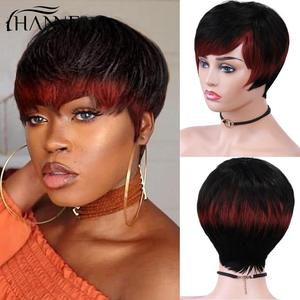 HANNE Wig Brazilian 100% Human Hair Wigs Short Straight Black Mixed Red Pixie Cut Wig Hair for Black Women Remy Hair Free Ship