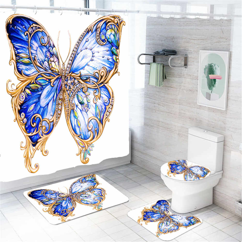 Girl Bathroom Decor Set 10Pcs Butterfly Leopard Waterproof Bath Curtain with  Hooks Non Slip Rug Set and Toilet Cover Dropshipping