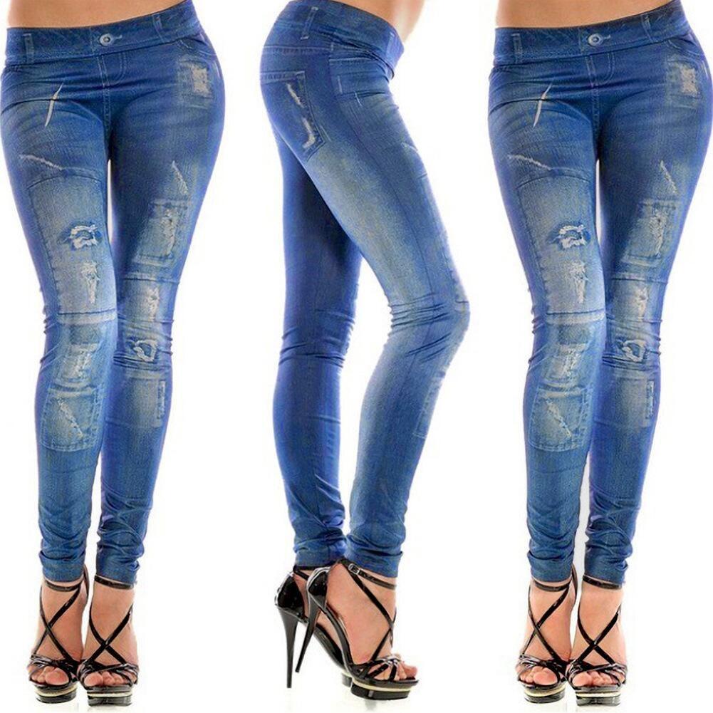 Girls Fashion New Stylish Gray Faux Jean Denim Like Women Leggings Pants -OPK