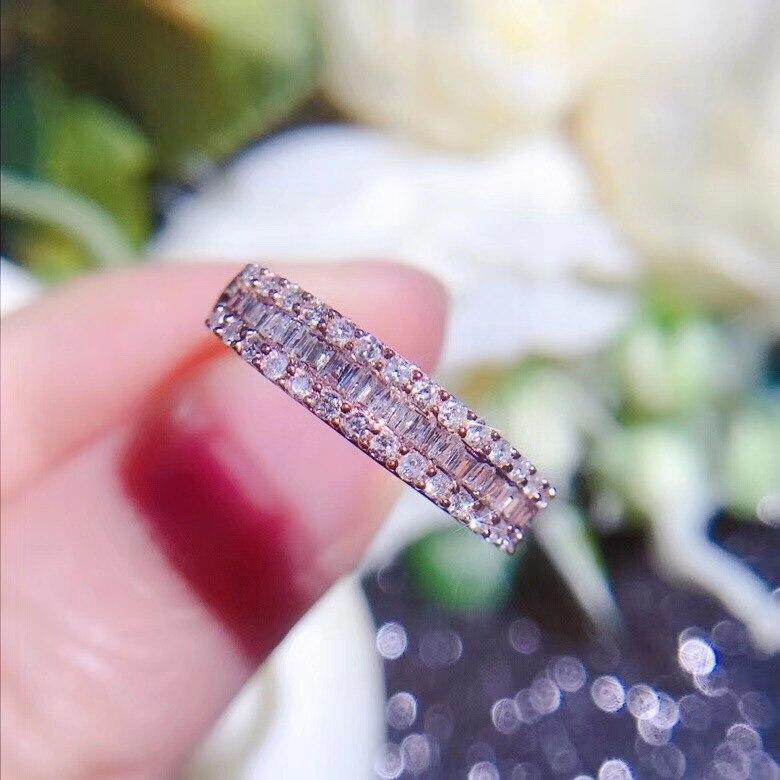 AEAW Real 18K 0.4ct 3 ряда проложить Установка полное кольцо вечности 18K ТВЕРДОЕ из белого золота с бриллиантами обручальное кольцо