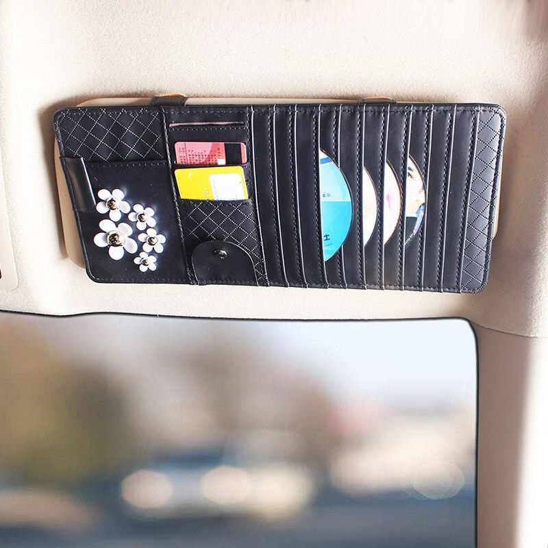 Sun Visor Leather Auto Car Sunshade Sun Visor CD Card Glasses Holder Organizer Bag Cars Gadget Vehicle Parts