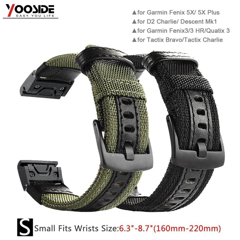 YOOSIDE 26mm/22mm Quick Fit Woven Nylon Sweatproof Watch Band Strap For Garmin Fenix 6X/5X Plus/Fenix 3/3 HR/Fenix 5 Wristband
