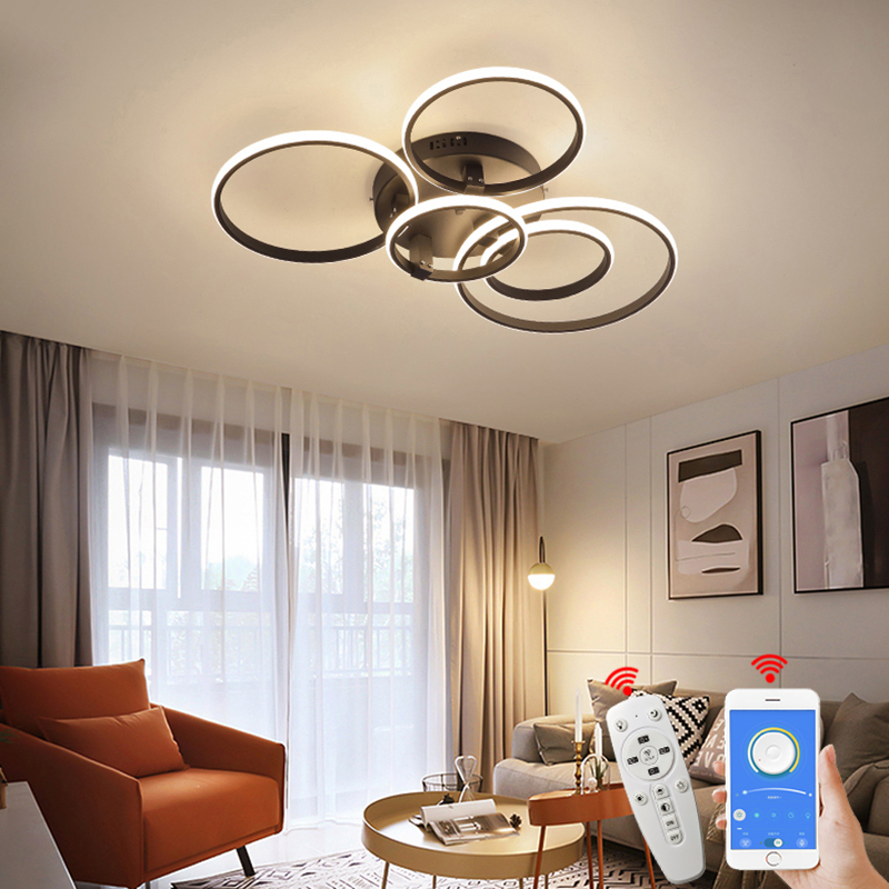 Hot Modern led Chandelier lamp New RC Dimmable APP Circle rings designer for living room bedroom ceiling chandelier fixtures