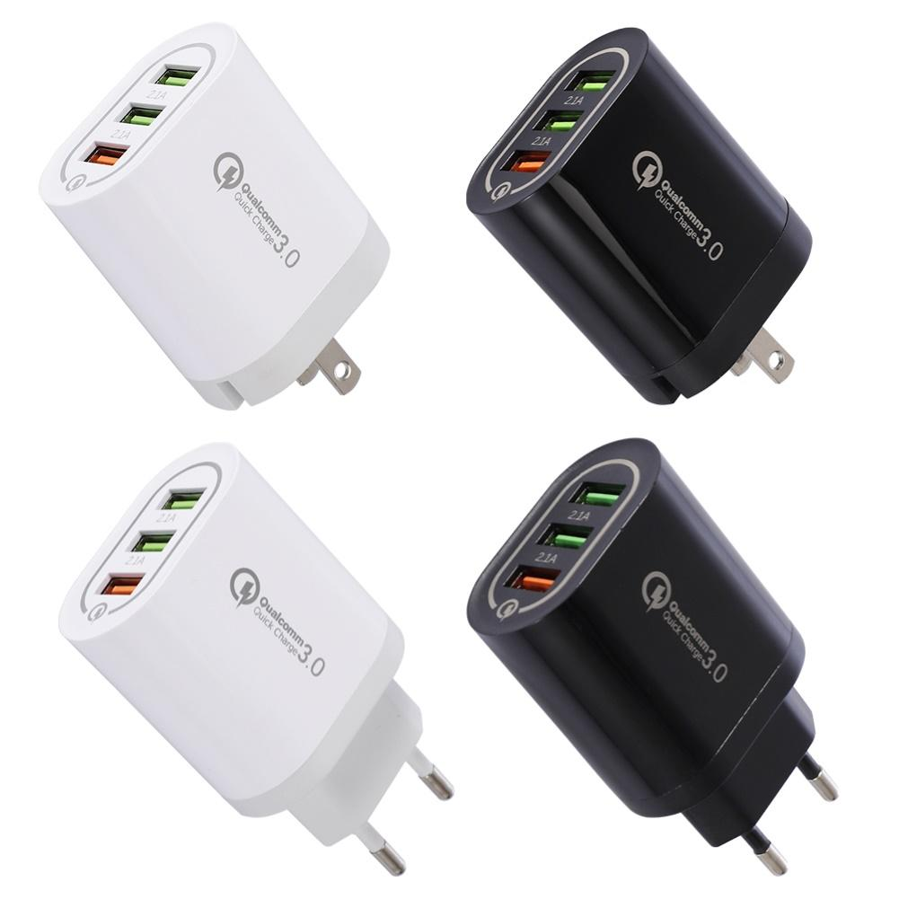 Portable Travel 3 USB Port QC 3.0 Fast Charger Wall Plug-in Charging Adapter USB Charger US/EU Plug Adapter быстрая зарядка