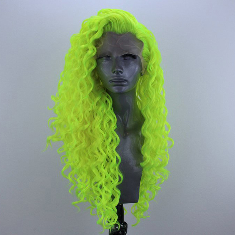 QUINLUX WIGS Fluorescent Green Long Curly Wig Glueless Heat Resistant Fiber Hair Synthetic Lace Front Wigs For Women