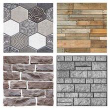 3D Brick Pattern Stickers Living Room Sofa Bathroom Background Decorative Tile Anti-collision Wall B