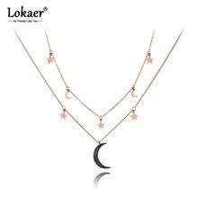 Lokaer-colliers avec pendentif à Double couche en acier inoxydable pour femmes et filles, ras du cou, étoile et lune, bijoux tendance, N19164