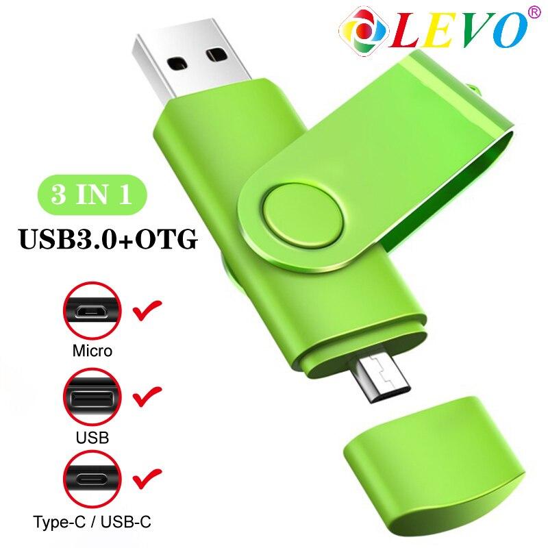 OTG USB 3,0 флэш-накопители 3 в 1 флэш-накопитель 64 Гб 128 Гб флэш-накопитель для Type C Android 8 ГБ 16 ГБ 32 ГБ внешнее хранилище