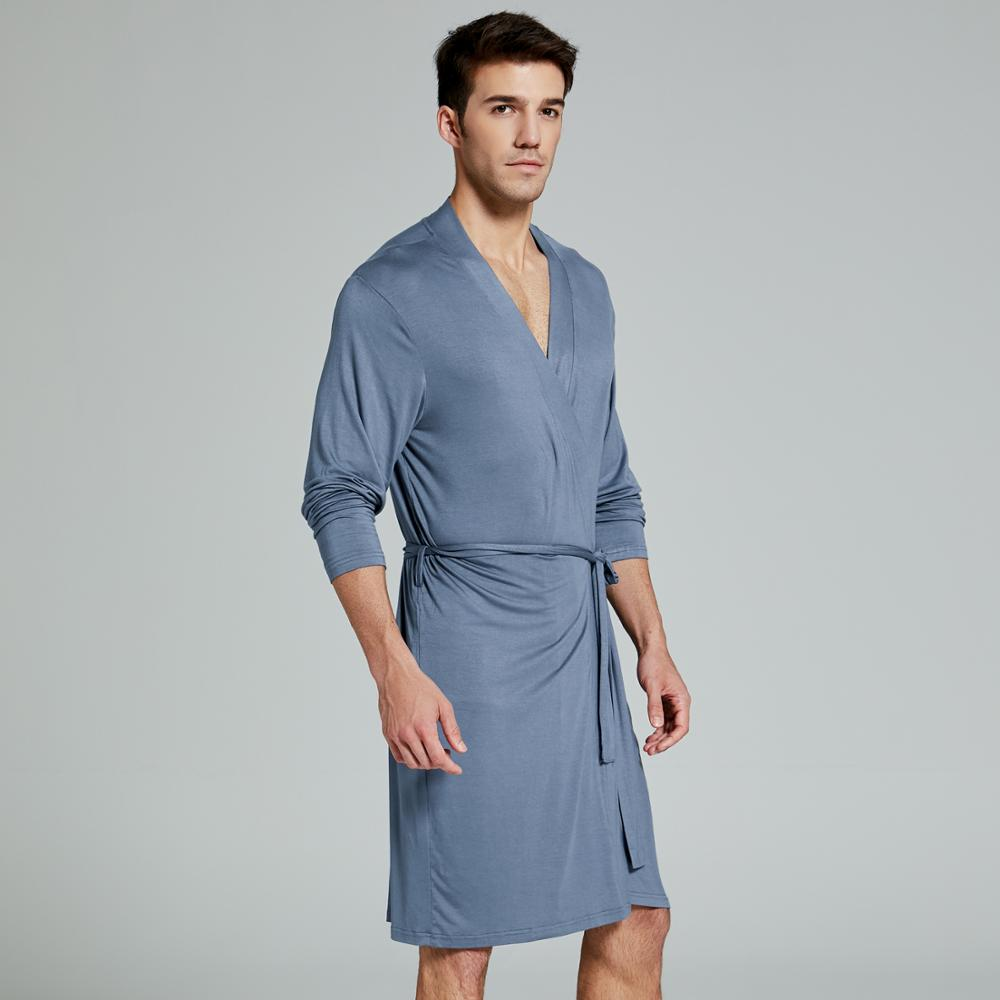 Men's Modal Nightgown Bathrobe Sexy Gown  Sleepwear Night Shirt Loungewear Pyjamas