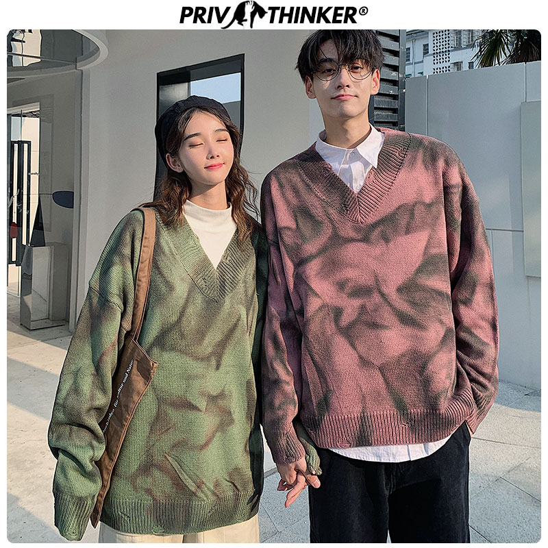 Privathinker Couple 2019 Tie Dyeing V-Neck Knitted Sweaters Men Woman Casual Vintage Pullovers Tops Lover Fashion Sweater Autumn
