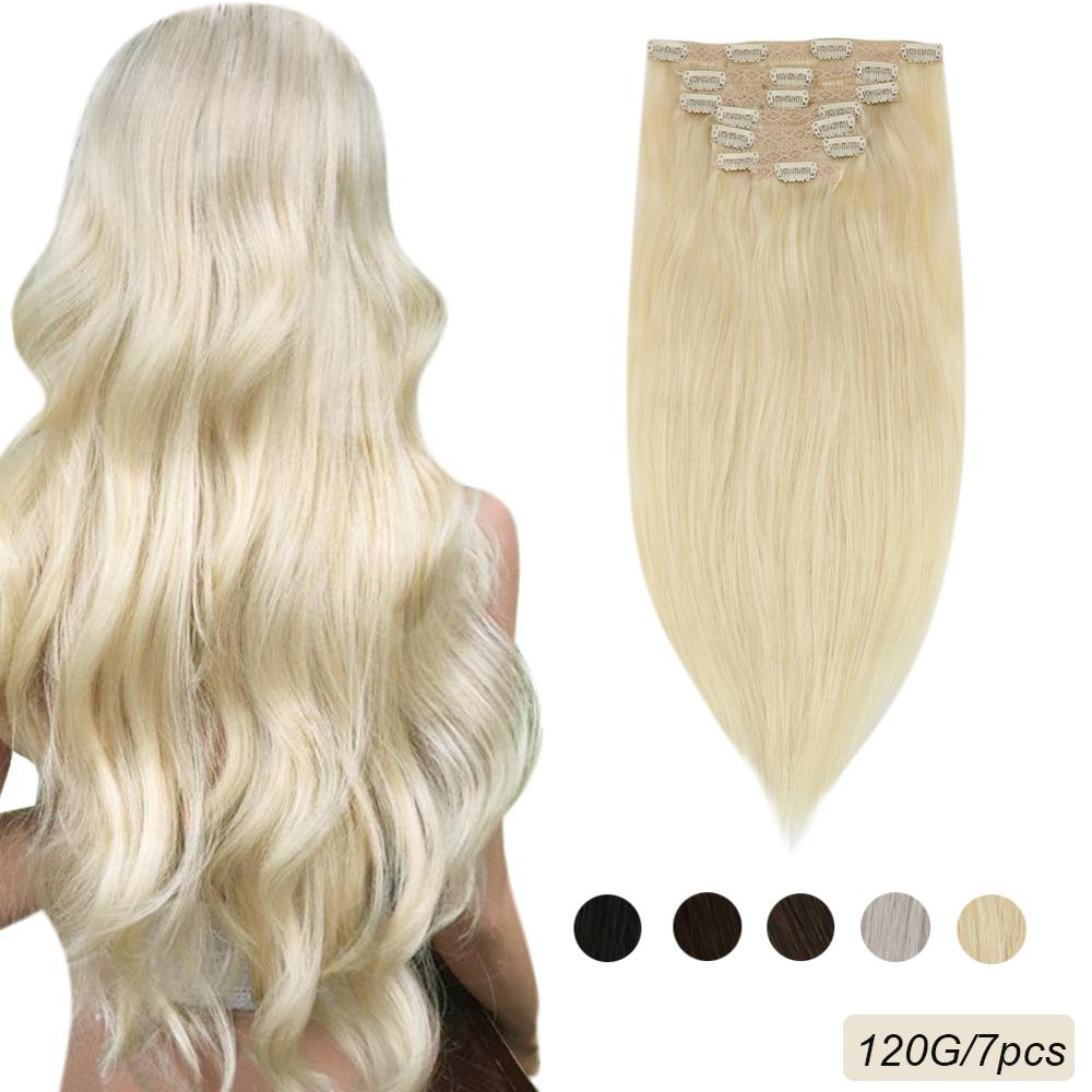 "Ugeat Clip in Hair Extensions Human Hair 14-24"" Machine Remy Human Hair Thick Hair with Clips Straight Brazilian Hair 120G/7PCS"