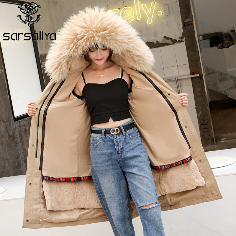 Parka Real Fur Women Winter Natural Fur Parkas Female Coats Ladies Warm Parka Long Woman Overcoat Lining Rabbit 2020 New Arrival