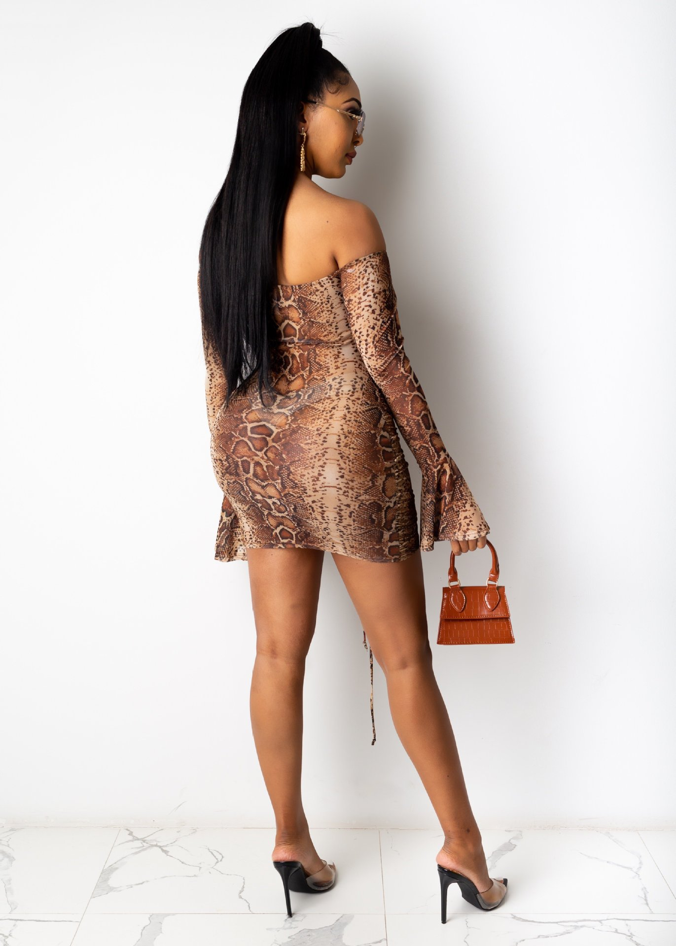 H1b50b74d7c854076b21fd61a46408ec0w - Adogirl Snake Print Long Sleeve Dress Women Evening Party Night Dresses Sexy Off Shoulder Drawstring Bodycon Slim Mini Dress