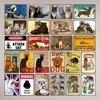 A Home Without Cat Is Just a House Pet Sign Metal Animal Tin Sign Vintage Plates For Wall Art Retro Wall Decor 30X20CM [ kelly66 ] pet life is better with a dog samoyed husky pug tin metal sign home decor bar wall art painting 20 30 cm size dy116