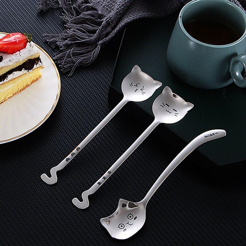 2 шт. милый кот чайная ложка творческий ложки с длинной ручкой, Кофе ложка 304 Нержавеющаясталь cat Ложка столовая посуда для бара