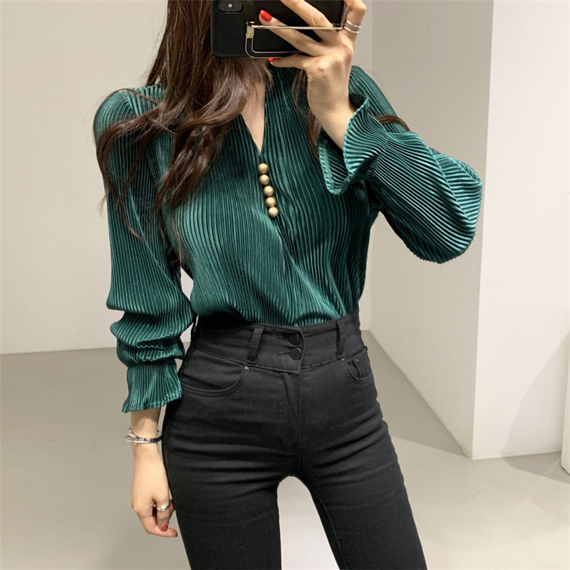 HziriP V-Neck Pleated Elegant Retro 2020 Stylish Sexy Slimming Tops Blouse Women Chic Flare-Sleeved Office Lady Pullovers Shirts