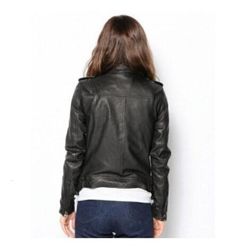 Spring Autumn Women Short Sheepskin Real Leather Jacket Moto Biker Stand Collar Outwear Coat Rock Zipper Genuine Leather Jackets