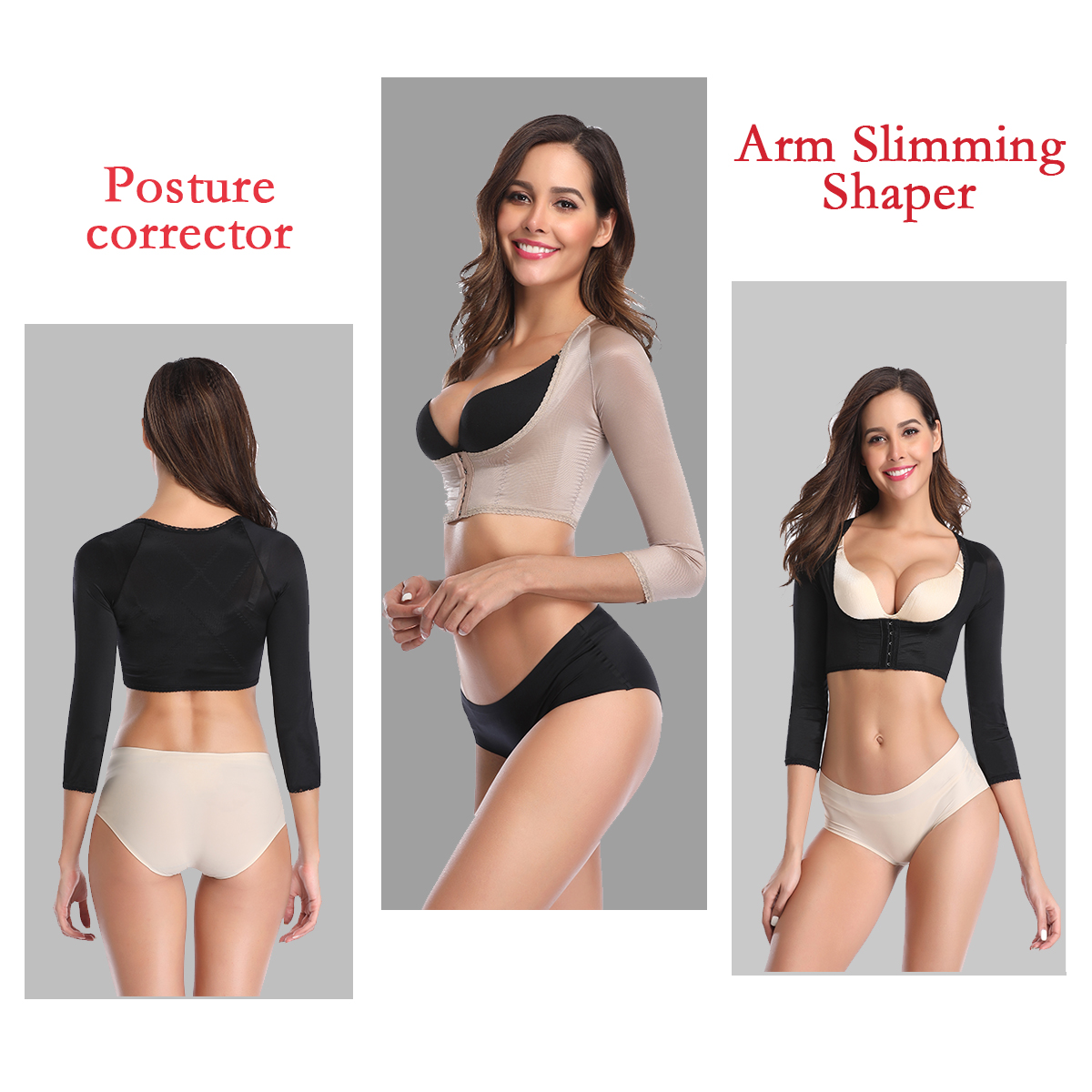 Humpback Posture Corrector Arm Shapers For Women Crop Tops Compression Slimming Upper Surgical Slimmer Arm Vest Shapewear